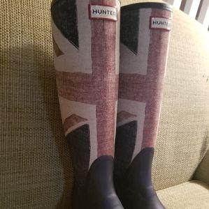 Hunter Union Jack British rain boots size 6